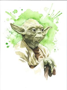 Star Wars Watercolor Art Print Yoda by JAWart on Etsy