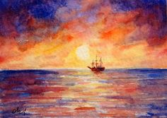 ACEO card Miniature watercolour Painting sunset by CornerCroft