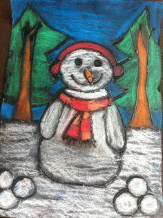 Sneeuwpop: tekenen - omtrekken met lijm - inkleuren met pastelkrijt