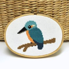 Love this birdy! Kingfisher Counted Cross Stitch Pattern by Sewingseed on @Etsy.