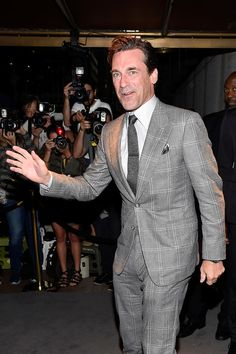 """""""Mad Men"""" actor Jon Hamm attends the Tom Ford Spring 2017 fashion show during New York Fashion Week held at St. in New York City. Fashion Show 2016, Fashion 2017, New York Fashion, Mad Men Actors, Garrett Hedlund, Jon Hamm, Tom Ford, Toms, Suit Jacket"""