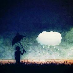 درس خصوصي في البكاء.  The Boy And The Cloud, Acrylic on canvas 40 × 40cm, by Hamza Kanaan.  #art #painting  #fine_arts #artist_hamza_kanaan  #boy  #cloud #night #bird #love #rain #dream #acrylic #رسم #فن #فنون_جميلة #فن_تشكيلي #الفنان_حمزة_كنعان  #taide