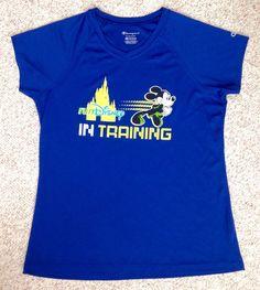 WOMEN(XL) RUN DISNEY RUNNING T-SHIRT Blue/Yellow Mickey Mouse Walt World DRY-FIT #Champion #ShirtsTops