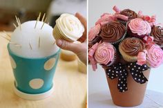Clever cupcake display - use terra cotta or decorative pot, fill with Styrofoam ball, insert toothpicks or bamboo skewers and place mini cupcakes on picks arranged like a flower bouquet.  Personalize or customize at will!