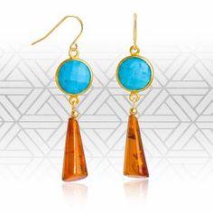 Item: Baltic Amber and Arizona Turquoise Art Deco Style Drop EarringsBrand: RegenzMetal Purity: Sold for on Mar 2018 Turquoise Art, Baltic Amber, Art Deco Fashion, Stone Jewelry, Icon Design, Drop Earrings, Jewels, Gemstones, Arizona