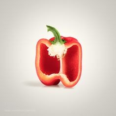 Red Pepper Cross-section by IFTTT minimalism background bell bell pepper capsicum cross section cross-section cut food f Fruit And Veg, Fruits And Vegetables, Stuffed Green Peppers, Red Peppers, Indoor Photography, Food Photography, Vegetables Photography, Food F, Ceramic Wall Art