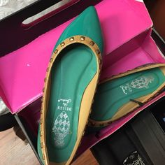 Report Mint Green Studded Pointy Flats Never worn outside. With box. Size 7.5 Report Shoes Flats & Loafers