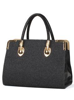 Gray Suede Vintage Shoulder Bag