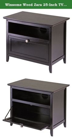 """Winsome Wood Zara 25-Inch TV Stand. From Winsome Wood's new Zara line of TV cabinets, a 25"""" wood stand with one open storage shelf and one storage shelf with pull down door. Contemporary styling is accented with brushed aluminum knob and Espresso finish."""