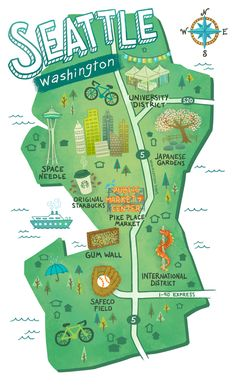 Sara Wasserboehr – Map of Seattle – – Best Travel Destinations Seattle Vacation, Seattle Travel, Seattle Map, Hello Seattle, Map Of Portland Oregon, Seattle To Do, Seattle Gum Wall, Seattle Sights, Things To Do Seattle