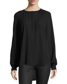 Neiman Marcus Pleated-Neck Long-Sleeve Blouse, Black New offer @@@ Price :$118 Price Sale $68