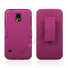 high quanlity Hard Plastic Cover With belt clip holster and kickstand Combo Case for Samsung Galaxy S5 - Hot pink