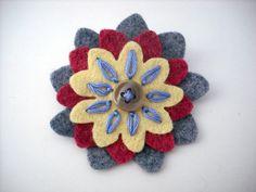 Wool Felt Flower Pin / Brooch via Etsy - $3