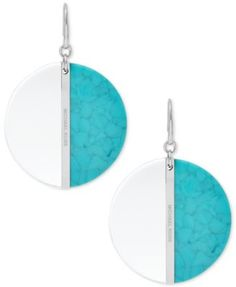 """Michael Kors Silver-Tone Blue Colorblock Drop Earrings $55.00 Daring divas will be dazzled by the brilliant blue colorblock detailing of these drop earrings designed by Michael Kors in silver-tone mixed metal. Approximate drop: 1-1/2""""."""