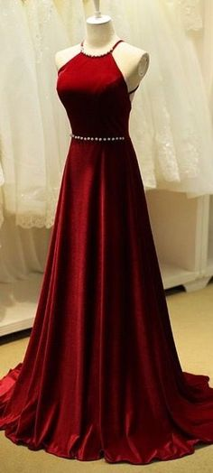 New long red chiffon prom dress halter with beads evening gowns length  floor party dress d3682c2e06