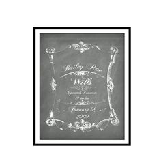 birth announcement chalkboard art print signage by Printpressfmt, $22.95