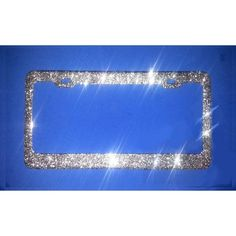a1c6d65e6f5 BEST SELLER Sparkly Real SILVER Glitter on a Bling Metal License Plate  Frame Glitter Sparkles like D