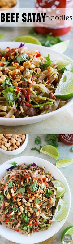 A great use for ground beef, this Beef Satay Noodles Recipe is an easy weeknight dinner that can be spiced up or down depending on your preferences. I could eat this every day!!: