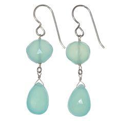 Aqua Blue Chalcedony Sterling Silver Handmade Gemstone Earrings