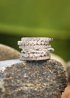 Ethical diamond rings | brilliantearth.com - love the different shapes for the bands - would be great to combine 3 of them for a work ring