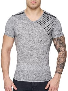 K&D Men Corner Stars Faux Leather Band V-Neck T-shirt -  Gray