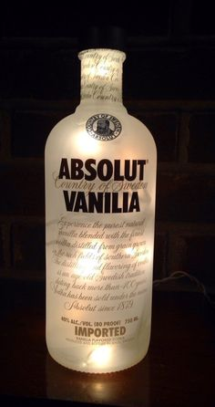 great Absolut Vanilia Vodka Light bottle lamp with frosted light set inside to illuminate the bottle. measures 9 1/2″ high and 3.5″ wide Visit lightitupcreations.com Purchase this on Etsy