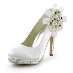 Chic 4 inch Rhinestones Pearl Floral Almond Toe Pumps