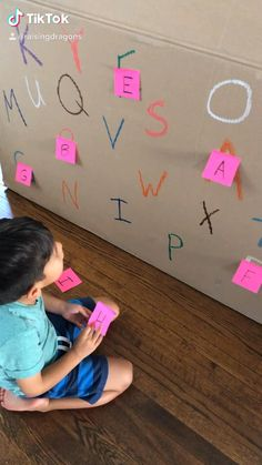 All you need is a big box and some sticky notes for this fun letter recognition game! Preschool Learning Activities, Indoor Activities For Kids, Toddler Activities, Preschool Activities, Teaching Kids, Learning Activities For Kids, Quiet Time Activities, Teaching Colors, Painting Activities