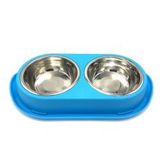 Pet Bowl, Oval Nontoxic Plastic Base and Removable Stainless Steel Bowl Blue (2 X 16 OZ) *** For more information, visit image link. (This is an affiliate link and I receive a commission for the sales)
