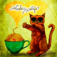 #caturday catnip! What my #Coffee says to me January 17 - drink YOUR life in - Sip on a caffeinated cup of caturday catnip! Then roll around in the #GOTTADO Fundraiser! I'll donate 50% royalties! Details here: http://www.catsinthebag.com/What%20my%20coffee%20says.html (What my Coffee says to me is a daily, illustrated series created by Jennifer R. Cook)
