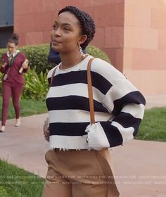 Zoey's striped sweater and ruffle pants on Grown-ish. Outfit Details: https://wornontv.net/90423/ #Grown-ish