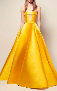The Elsa Silk Strapless Crinoline Cuff Gown by ALEX PERRY Now Available on Moda Operandi