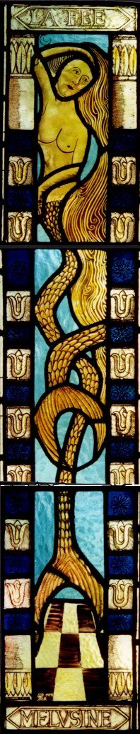 WHITE ROSE MYTHS~~ Melusine, an ancestor of The Rivers, the family of Elizabeth Woodville, on a stained glass window of Luxembourg. Mermaid Hotel, Compleat Angler, Mermaid Stories, Mermaid Purse, Elizabeth Woodville, Water Nymphs, Wars Of The Roses, Plantagenet, Past Present Future