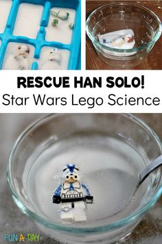 "An experiment for little Star Wars fans! In this Lego science activity, kids save Han Solo from his ""carbonite"" prison with a special chemical reaction."