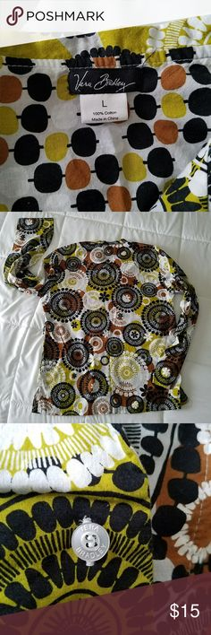 Vera Bradley button down shirt size large Perfect fall colors and not typical of the floral pattern you will see with other Vera Bradley products. This blouse does not have a button closure at the wrist area. Made of 100% cotton it is lightweight. Tops Button Down Shirts