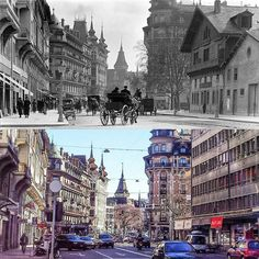 Rue François-Versonnex Après 1903 -> 2016 BGE, Centre d'iconographie genevoise #eauxvives #genève #geneve #geneva #rephotography Times Square, Photos, Instagram Posts, Travel, Living Water, Viajes, Trips, Traveling, Tourism