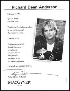 Richard Dean Anderson's farewell letter to the cast and crew of MacGyver Macgyver Tv, Angus Macgyver, Macgyver 2016, Macgyver Richard Dean Anderson, Robert Sean Leonard, Be My Hero, Michael Shanks, Lucas Till, Elvis And Priscilla