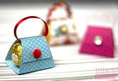 Como fazer um porta bombom mini bolsa de papel decorado