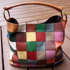Stella & Max Patchwork Leather & Suede Hobo Shoulder Bag Purse Large EUC #StellaMax #ShoulderBag