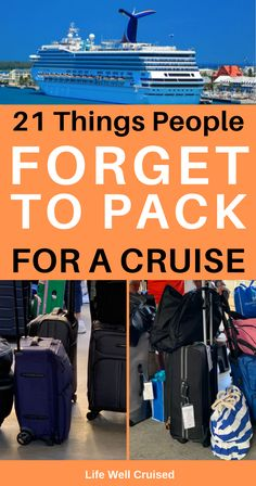 Packing for a cruise vacation is always important, as is  remembering what you'll need most. Use this list to make sure you have your personalized cruise packing guide for your cruise holiday. Best be prepared and pla, plan, plan. #cruisepacking #cruiseplanning #cruisepackingtips #cruise #cruisetips #tipsforcruising #cruisepackinglist