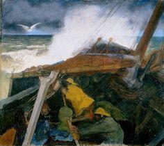 Departure of a Fishing Boat by Jan Toorop. Museums: Kröller-Müller Museum, Otterlo, The Netherlands; Pointillism, Fishing Boats, Impressionism, Netherlands, Art Nouveau, Museum, Drawings, Artist, Artwork