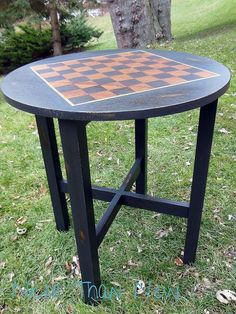 Odd Sized Table to Chess Table - I acquired a very solid vintage oak table in the mission style. It was tall as a dining table with a small round top. After som… Table Furniture, Painted Furniture, Furniture Refinishing, Furniture Redo, Repurposed Furniture, Furniture Ideas, Oak Table, Dining Table, Checkerboard Table
