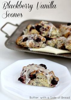 Blackberry Vanilla Scones ~ such a great scone recipe! Homemade taste so much better! Butter with a Side of Bread #recipe #breakfast