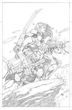 Gamora and Rocket Racoon (Guardians of the Galaxy) by Joe Madureira