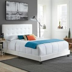 Baxton Studio Bianca Transitional White Faux Leather Upholstered Full Size Bed-28862-4413-HD - The Home Depot Platform Bed Frame Full, Full Bed Frame, King Platform Bed, Upholstered Platform Bed, Tuffed Bed, Door Bed, Japanese Bed, Thing 1, Panel Headboard