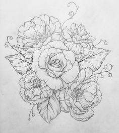 """71 Likes, 8 Comments - Claire Stewart (@clairestewartart) on Instagram: """"Another one done! Peonies, carnations and a single rose  #flash #tattoo #drawing #linedrawing…"""""""
