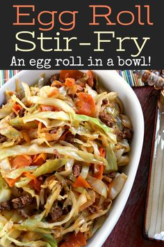 Egg Roll Stir-Fry - - A skillet recipe with cabbage and all the flavor of an egg roll without the wrapper! Like an unstuffed egg roll stir-fry in a bowl! Asian Recipes, Real Food Recipes, Diet Recipes, Cooking Recipes, Healthy Recipes, Chicken And Cabbage, Eggs And Cabbage Recipe, Chinese Recipe With Cabbage, Stir Fry With Cabbage
