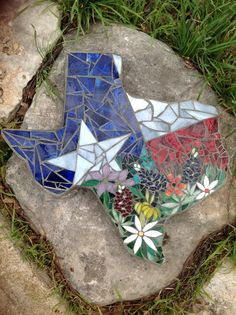 Texas mosaic stepping stone I made to raffle off for our Relay for Life team.