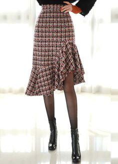 Asymmetrical Flounced Hem Tweed Skirt, Styleonme