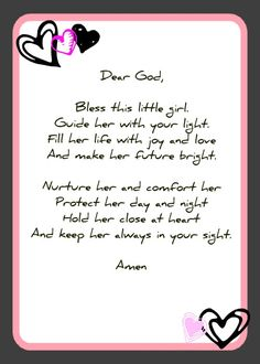 Good poem for baptism page too.  Baby Shower Prayer Cards | Feel free to copy and use in any way you wish.